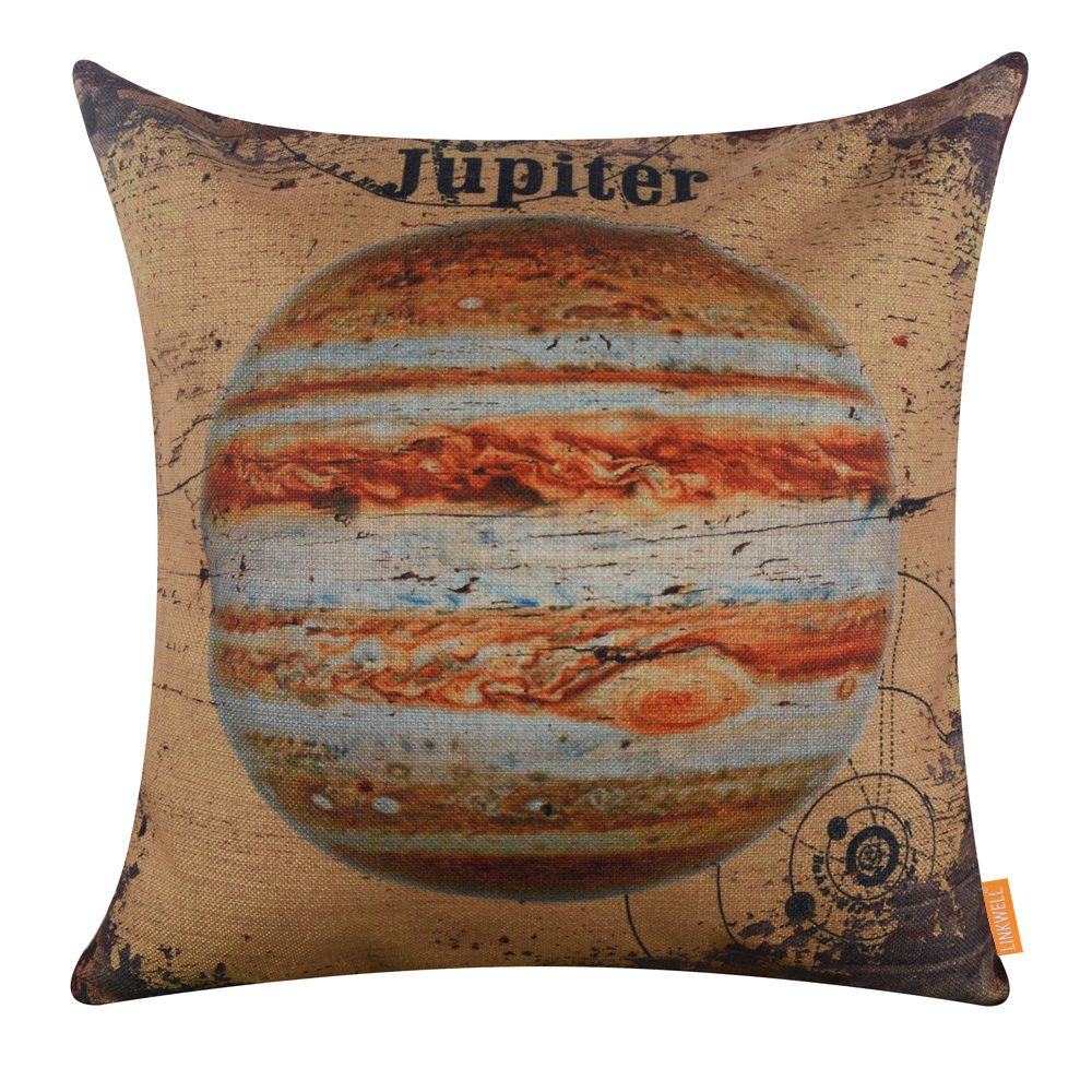 LINKWELL 18x18 inches Pillow Case Burlap Cushion Cover Vintage Yellow Jupiter Beautiful Planet Solar System font