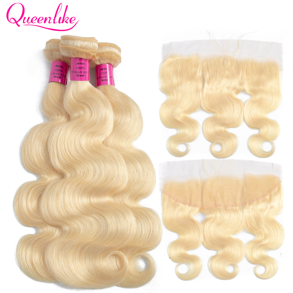 Queenlike Color 613 Brazilian Body Wave Remy Human Hair Bundles With Frontal Light Honey Blonde Bundles With Closure image