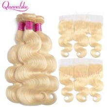 Queenlike extensions brésiliennes Remy Body Wave, cheveux naturels, blond miel 613, avec Frontal