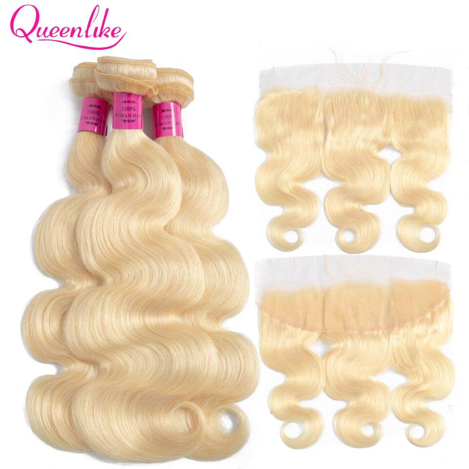 Queenlike kolor 613 brazylijski ciało fala Remy ludzki włos wiązki włosów z Frontal lekkiego miodu blond wiązki z zamknięciem w 3/4 pasma z siateczką od Przedłużanie włosów i peruki na AliExpress - 11.11_Double 11Singles' Day 1