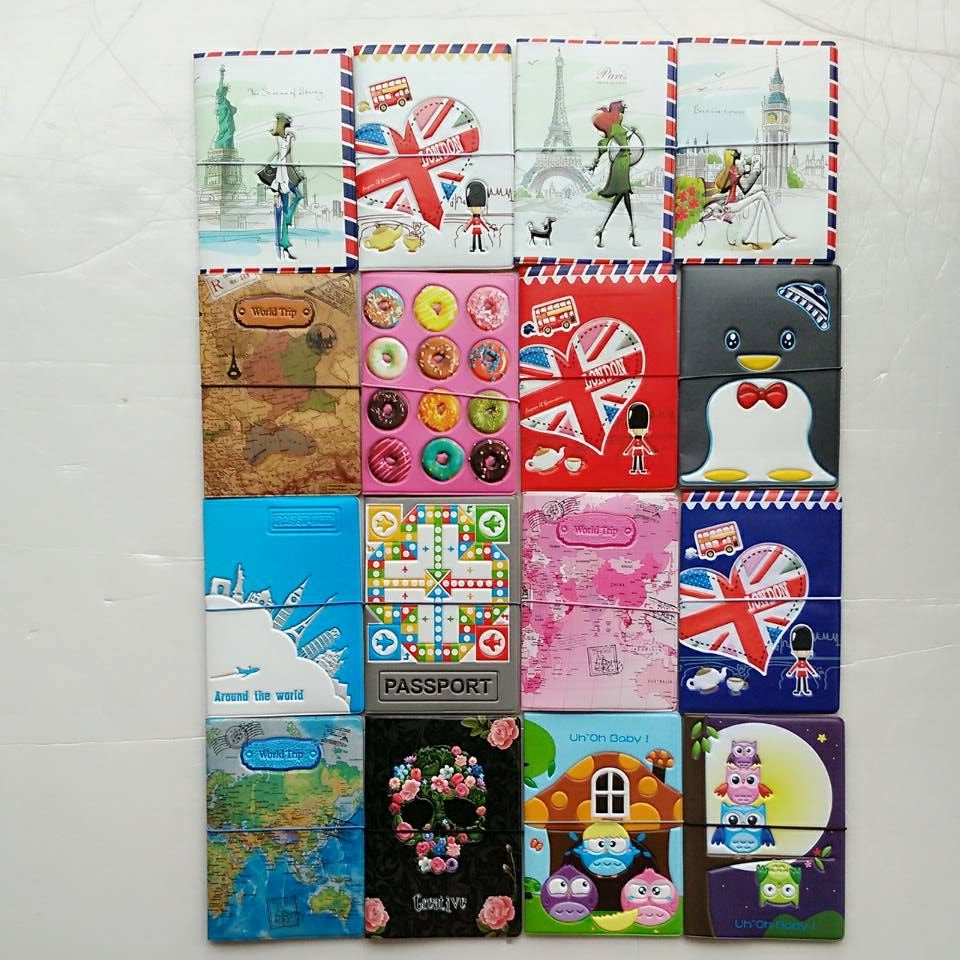 Travel Around The World Map Passport Cover,Card Bag,Passport Holder,Business Card Holder,PVC Leather Credit Card Holder Men