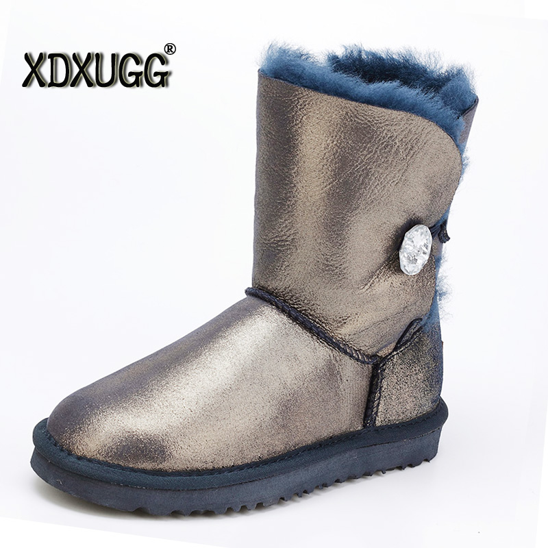 Australia sheep skin wool snow boots female calf height of winter flat bottomed warm boots, free shipping