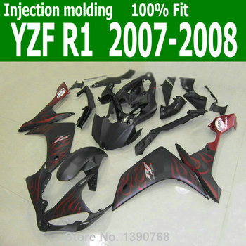 Mix customize Fairings For YAMAHA YZF R1 07 08 ( Matte black + red flames ) 2007 *2008 Abs Injection fairing kit CQ20