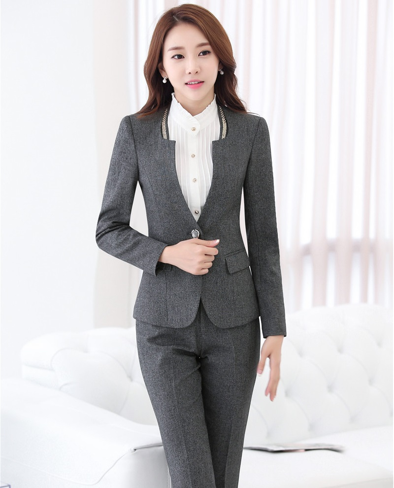 New Arrival 2016 Autumn Winter Slim Fashion Formal Pantsuits Office ladies Work Wear With Jackets And Pants Female Trousers Sets