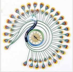 Free Shipping Iron Hand Painted European Super Mute Decoration Ideas Wall Clocks Peacock Character