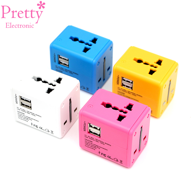 International Travel Adapter Mehrere farbe Elektrische Plug Power Universelle Buchse Adapter USB Power Charger Konverter EU UK US AU