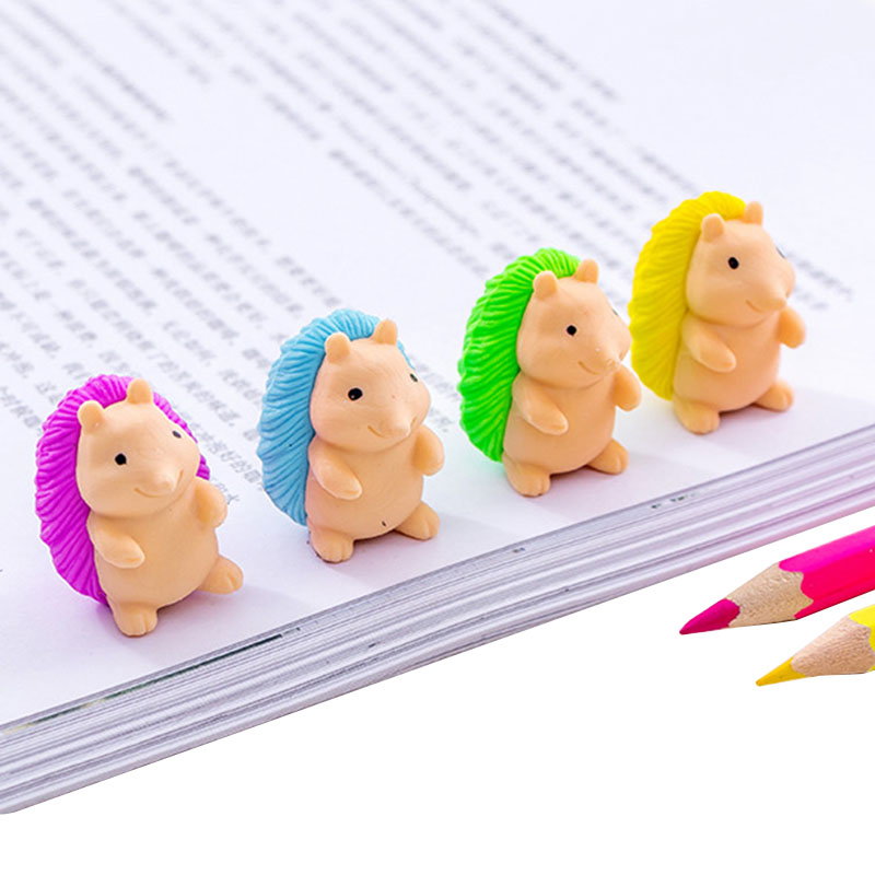 1 Pcs/lot Cartoon Cute Hedgehog Rubber Eraser Art School Supplies Office Stationery Novelty Pencil Correction Supplies