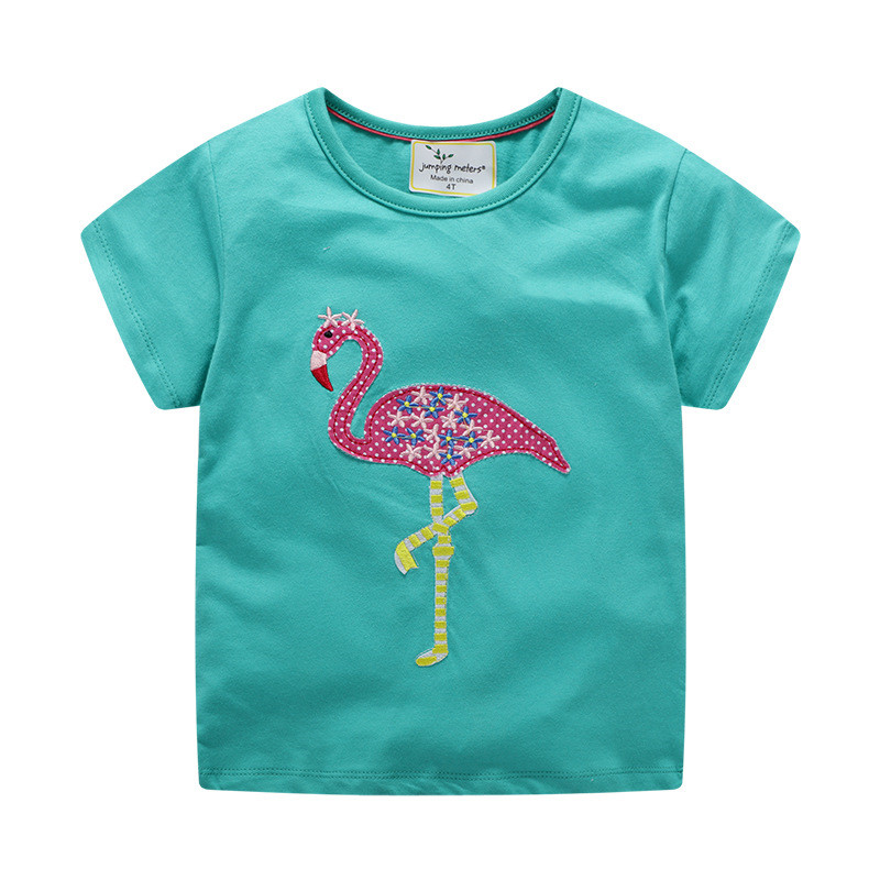 Girls Tees Tops Tshirts Applique Flamingo Kids Fashion Children Clothing Animals Cotton