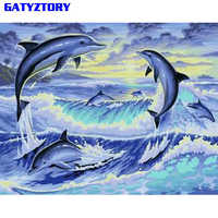 GATYZTORY Dolphin Animals DIY Painting By Numbers Hand Painted Acrylic Paint On Canvas Calligraphy Painting For Home Decor 40x50