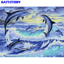GATYZTORY Dolphin Animals DIY Painting By Numbers Hand Painted Acrylic Paint On Canvas Calligraphy Painting For Home Decor 40x50(China)