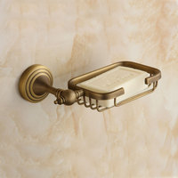 Antique Copper Brush Ceramic Soap Holder Luxury Bronze Solid Brass Soap Dish Wall Mounted Bathroom Hardware