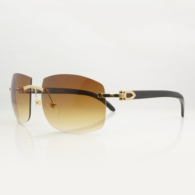 797342700646b White Buffalo Horn sunglass Men 2018 Luxury Rimless Carter Glasses Mens  Gold Glass Frames sun glasses