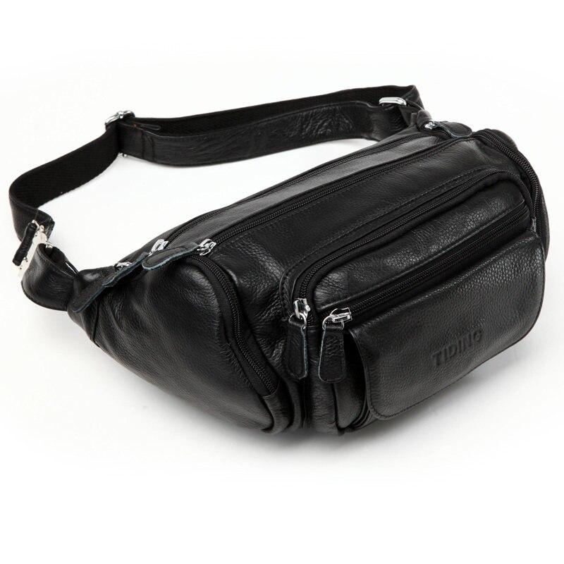 870cb1e03a TIDING Utility pouch Money holder Shoulder Black leather waist pack Mens  casual bag 3046