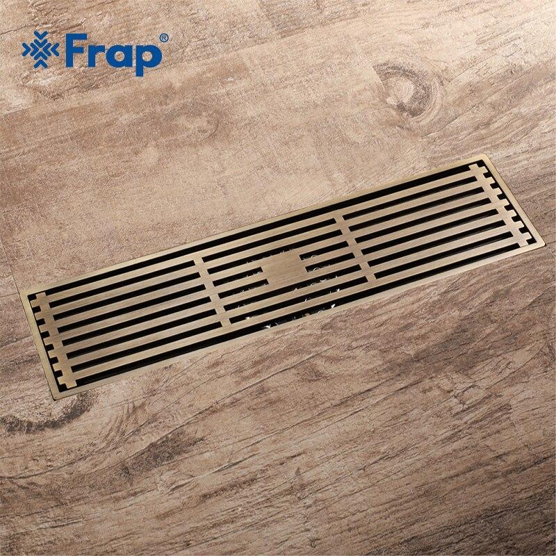 Frap New European Bathroom Copper 30*8.2cm Kitchen Filter Strainer Drain Floor Drain Bathroom Shower Square Floor Drain Y38073 цена
