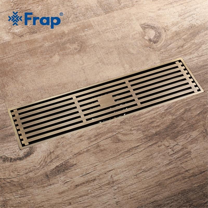 Frap nouvelle salle de bains européenne cuivre 30*8.2cm cuisine filtre crépine Drain plancher Drain salle de bains douche carré Drain Y38073