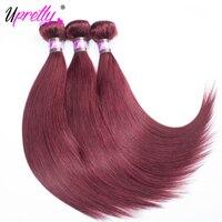 Vizon Perulu Saç Demetleri Bordo Düz Saç 3 Paketler İnsan Saç Uzantıları 99J Kırmızı Şarap Rengi 10