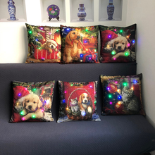 Led Christmas Cushion Cover Cute Cat-And-Dog Series Decorative Pillow  Sofa Car Family And Stylish Covers