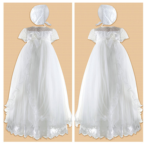 Impresionante Suave Bebé Blanco/Marfil Vestidos de Primera Comunión vestido de Bautizo Bautismo Vestido Con El Capo