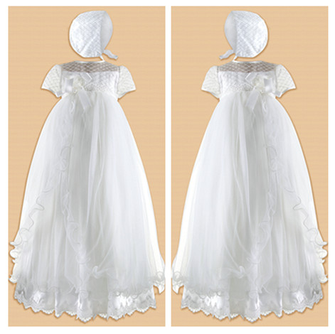 Stunning Soft Baby Girl White/Ivory First Communion Dresses Christening Gown Baptism Dress With Bonnet