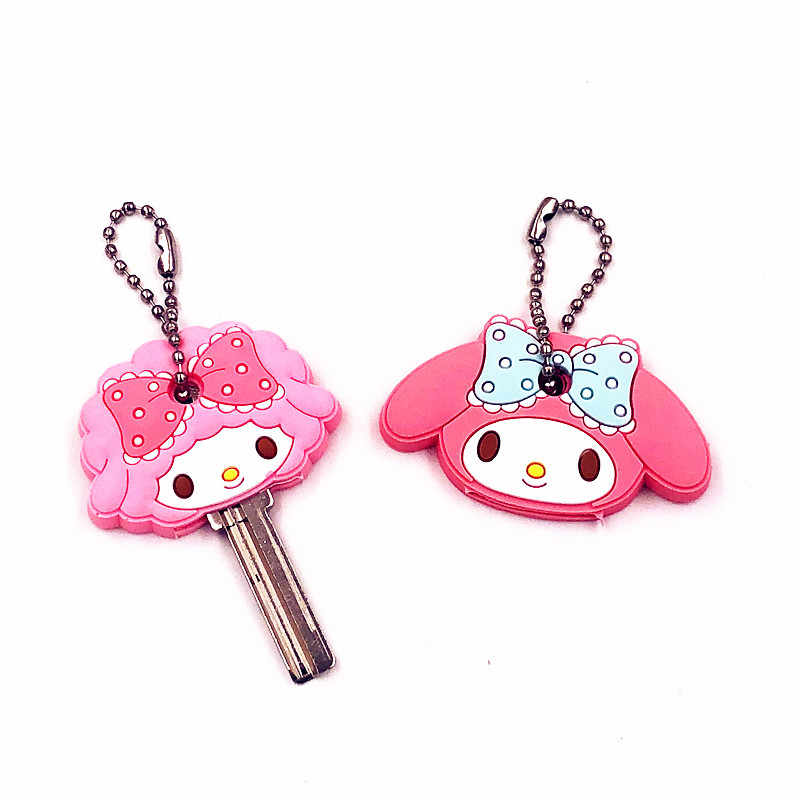 2 pcs Anime Dos Desenhos Animados Melodia Urso japonês estilos corrente Chave tampa do teclado de Silicone cap mulheres olá kitty Totoro monstro carro keychain