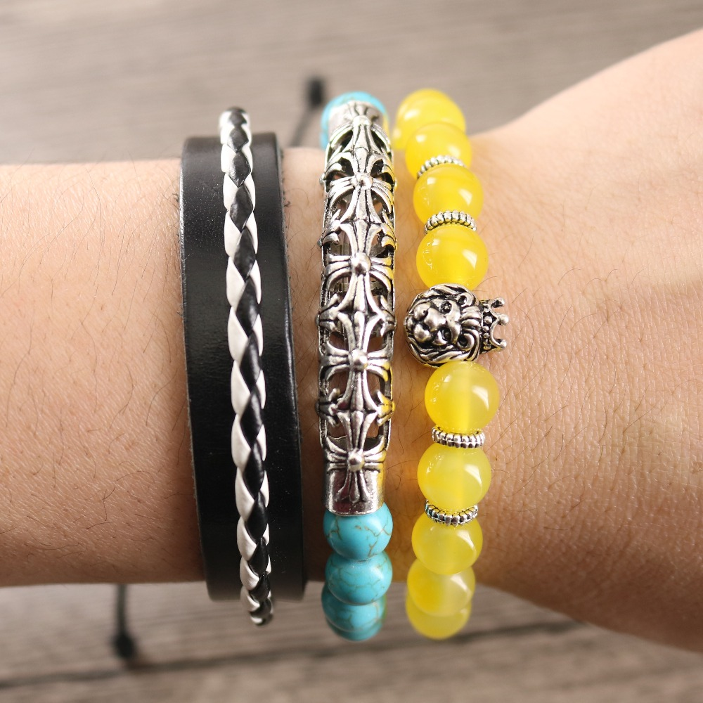 Vintage Cross Pipe Calaite Beads Yellow Onyx Stones Lion Head Leather Braided Strand Bracelets for Men Punk Style Jewelry