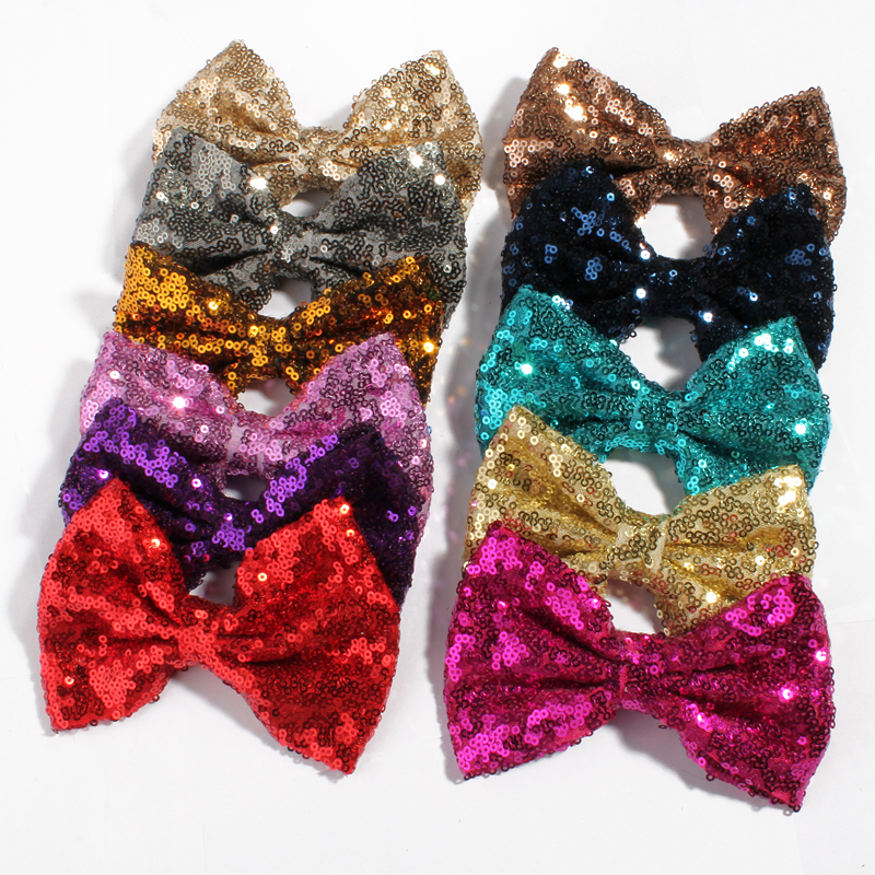 120PCS 13cm Newborn Big DIY Shiny Handmade Applique Knot Sequin Hair Bows for Hair Clips for