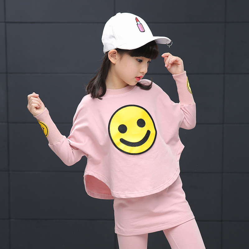 Girls Clothing Set 2017 New Batwing Sleeve Smiley Faces Kids Tracksuit Sweatshirt + Skirt Pants Teenage Cartoon Children Clothes 2017 new boys clothing set camouflage 3 9t boy sports suits kids clothes suit cotton boys tracksuit teenage costume long sleeve