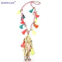 Женское кожаное ожерелье с длинной бахромой и кисточками