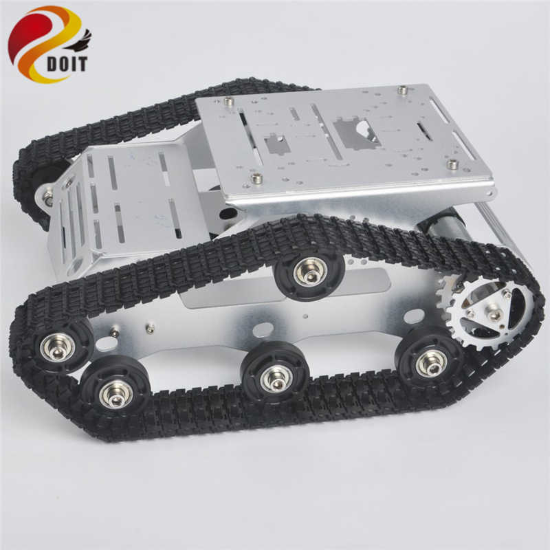 Tracked RC Robot Tank Chassis With Dual DC Motor Aluminum Alloy Frame  Interface Holes For Robotic Arm Arduino Project DIY Toy