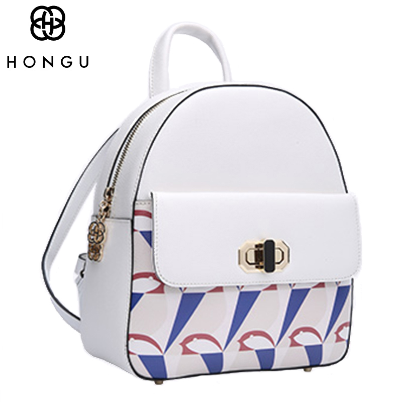 HONGU Fashion Women Backpack Baguette Crossbody Bags Animal Prints Zipper Solid European and American Style Tote 2017 Female Bag ladylike women s tote bag with solid color and daisy embossing design