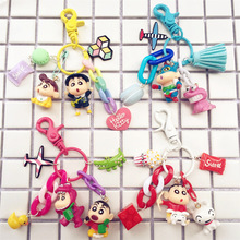2019 Hot Double Sided Patterm Rubber Crayon Shin Chan Cartoon Characters Animal Emoji Keychain Toy Keyring Key Gift
