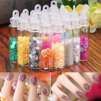 20 Bottles Caviar Nail Art Decorations Rhinestones 20 Kinds Colorful PVC Strass Nail Art Beads Decoration Stones for Nail M03623