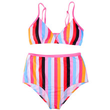 Swimsuit Sexy Rainbow Stripes Have Pad Bikinis Female