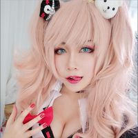 Danganronpa Enoshima Junko Cosplay Wig Long Curly Heat Resistant Synthetic Hair Claw Clip Ponytail Black White Bear Clip Pink