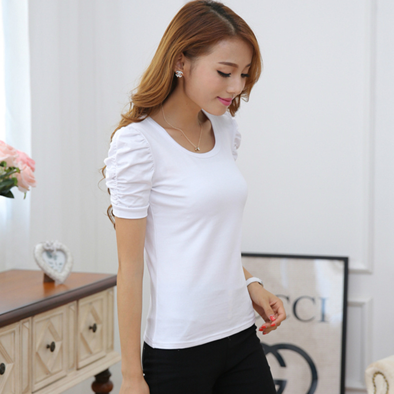 ALI shop ...  ... 32854444230 ... 2 ... 2019 New summer large size women's short-sleeved T-shirt female bubble sleeves Shrugging  cotton compassion Slim bottoming ...