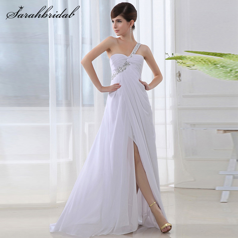 long One Shoulder Prom Dresses Chiffon A-Line Sleeveless Pleats Evening Gowns Floor-Length Beaded Back Lace Cheap In Stock SD011