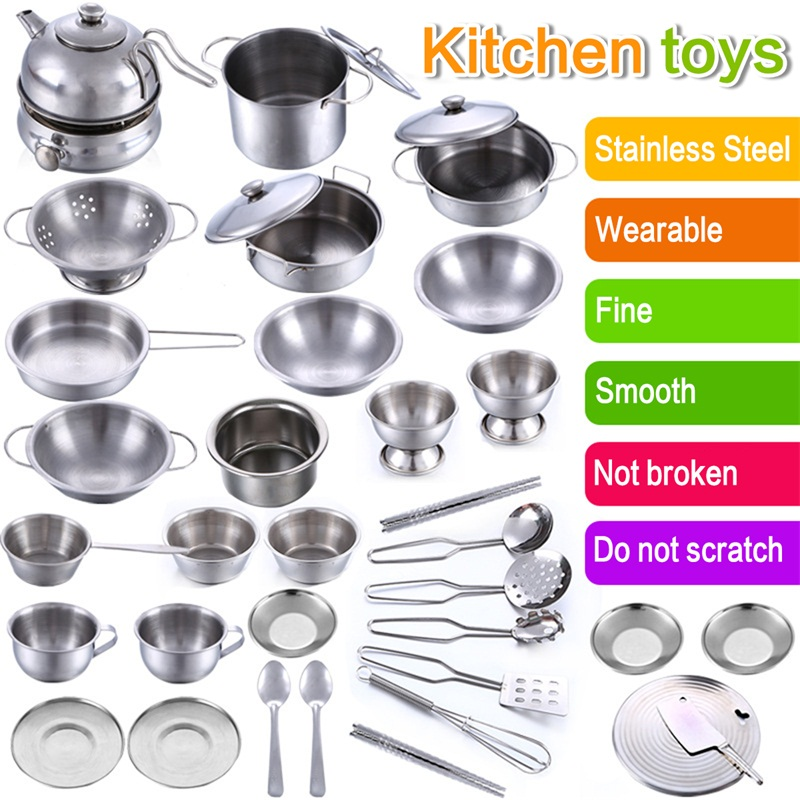 kitchen pots and pans sets kids babies stainless steel font cooking utensils melissa doug play food set
