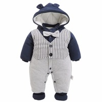 Baby boys Gentleman Romper Newborn Winter Jumpsuit Infant Striped Warm Outwear Outfit Long Sleeve Bebe Clothing For Newborn
