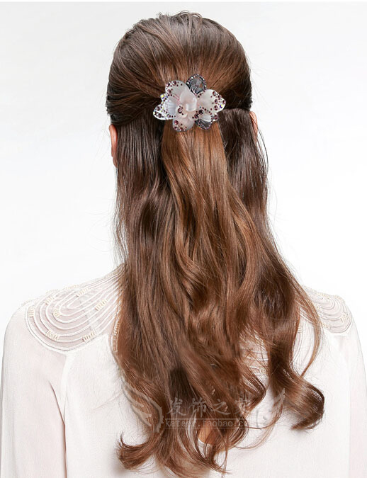 Woman Sheet Top Clip Ponytail Clip Female Rhinestone Hairpin Spring Clip Lady Rose Diamonds Rhinestone Hair Accessories
