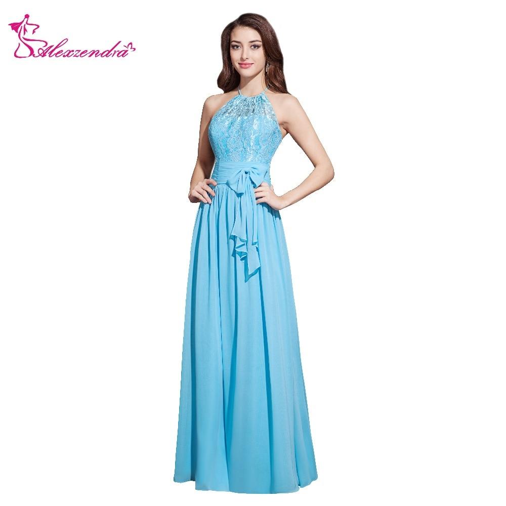 Alexzendra bleu ciel mousseline de soie licou Up dentelle longues robes de bal Simple robes de grande taille de fête