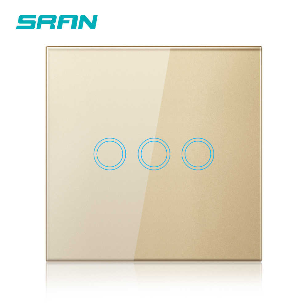 SRAN luxury wall touch sensor switch,eu standard led light switch 220v,switch power,black crystal glass,1/2/3gang 1way switch