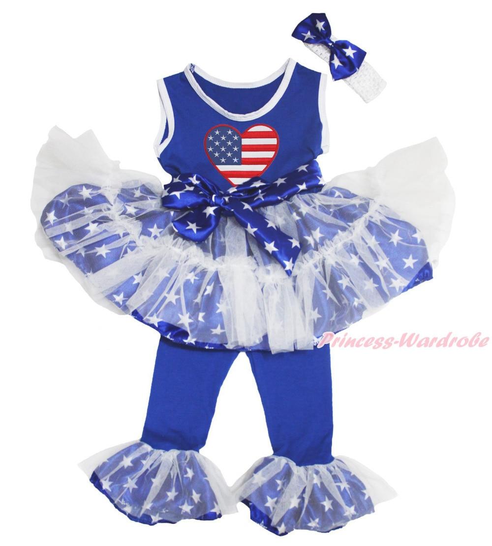 4th July USA HEART Patriotic Star Vest Top Dance Ruffle Tutu Dress Pants 1-8Year MAPSA0689 4th july america flag style stripe pettiskirt white ruffle tank top 2pc set 1 8year mamg1143