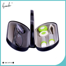 Lymouko High Quality Double Interlayer with Mirror Metal Contact Lens Case for Kit Box Dual Purpose Leather Reading Glasses