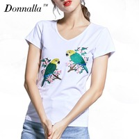 Donnalla Women T Shirt Plus Size Women Clothing Female Summer Boho Designs S 4XL White Birds