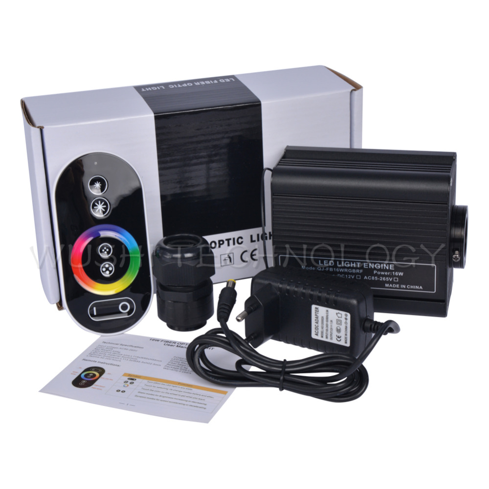 Mokungit 16W RGB LED Fiber Optic Engine Driver+RF touch Remote controller for all kinds fiber optics & EU / US / UK / AU Plug