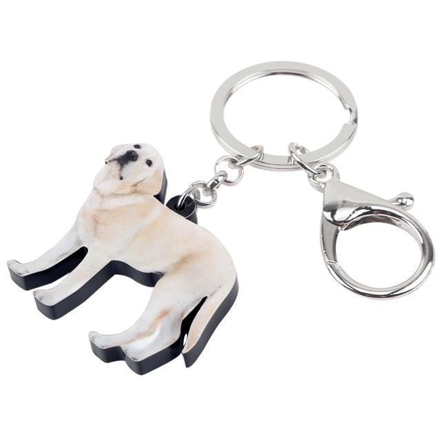 Bonsny الاكريليك لابرادور الكلب مفتاح سلسلة حامل سلسلة مفاتيح الحلو مجوهرات بأشكال حيوانات للنساء الفتيات حقيبة سيارة قلادة هدية لطيف الحيوانات الأليفة السحر