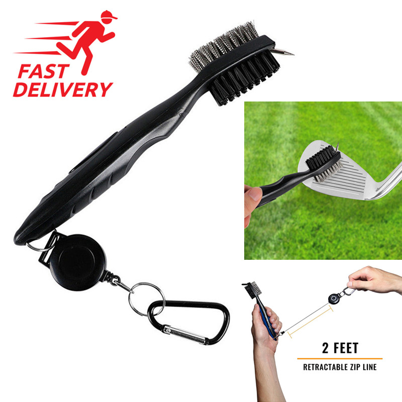Golf Brush Club Cleaner Tool Double Sided Golf Club Cleaning Brush Ball Wedge Groove Kit Golf Equipment With Hook Clip Steel