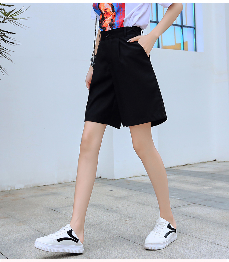 HTB1HQkwVpzqK1RjSZFCq6zbxVXaO - Jielur Women Summer Shorts Female Harajuku High Waist Short Pants Straight Cool Vintage Women Shorts Black Shorts M-5XL