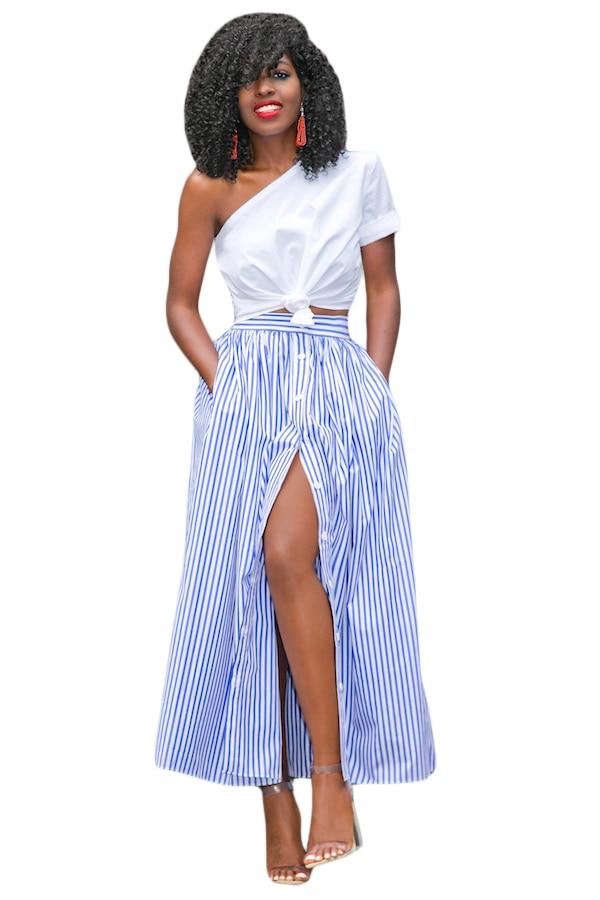 2016 Women Girl Summer Autumn Clothing Suit Sets Blue White Stripes Button Front Maxi Skirt LC65015 Vintage Skirts Faldas Saia