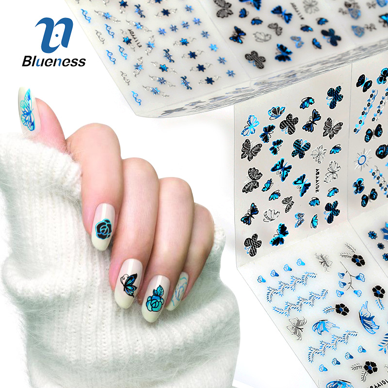 24pcslot Bronzing Stamping Nails Stickers Decoration Flower